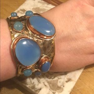 Jewelry - cuffs blue chalcedony OR turquoise amber bracelet